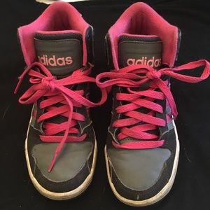 Gray and Pink Addidas Sneakers. Size 1   1/2